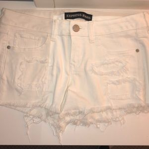 Express White Ripped Jean Shorts